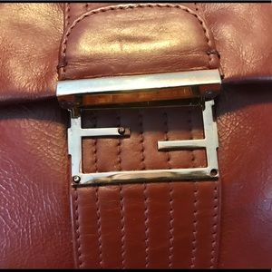 Fendi Bags - FENDI MAXI SHOULDER/BROWN LEATHER BAG/FLAP CLOSURE